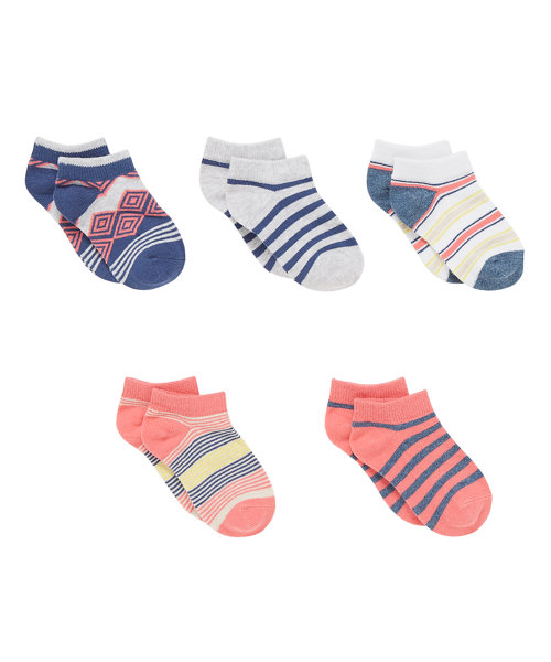 Stripe and Diamond Trainer Socks - 5 Pack