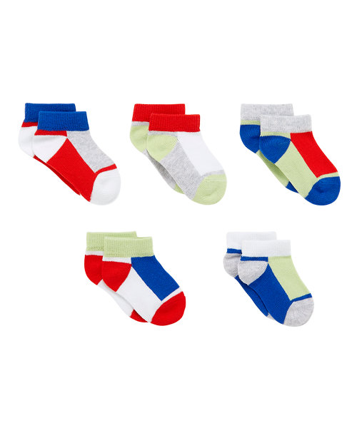 Colour Block Trainer Socks - 5 Pack