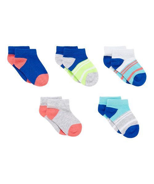 Colour Block Trainer Socks with Slip Resist - 5 Pack