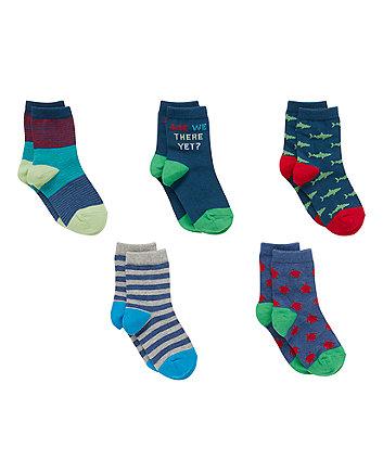 Shark and Turtle Socks - 5 Pack