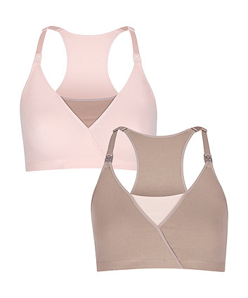 Mothercare Mocha and Pink Mock Wrap Maternity Nursing Bra