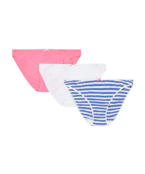 Pink, Stripe and Plain Maternity Briefs - 3 Pack