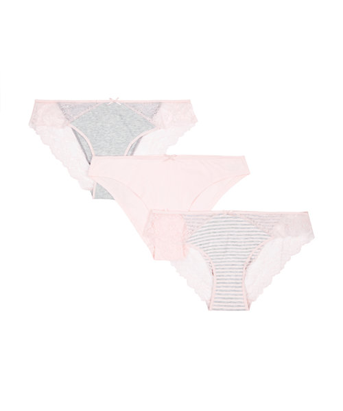 Pink and Grey Lace Maternity Briefs - 3 Pack