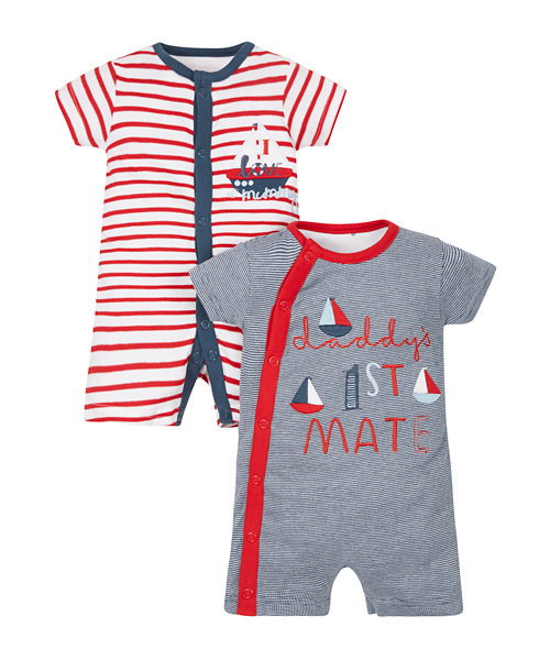 Little Sailor Rompers - 2 Pack
