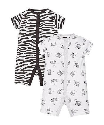 Zebra Rompers - 2 Pack