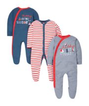 Little Sailor Sleepsuits - 3 Pack