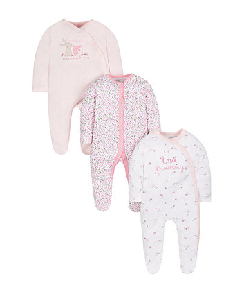 Bunny Sleepsuits - 3 Pack