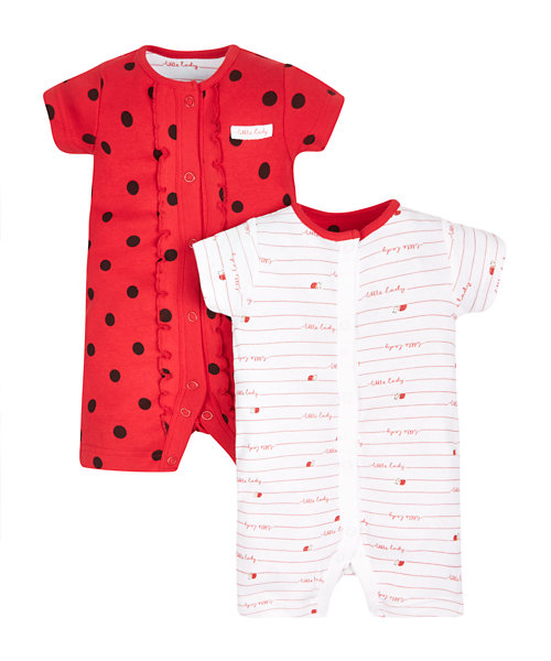 Little Ladybird Rompers - 2 Pack