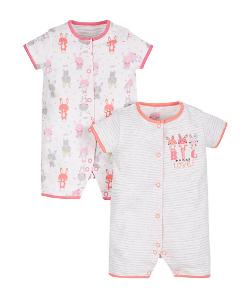 Big Love Bunny Rompers - 2 Pack