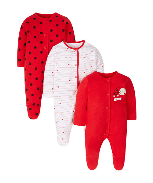 Ladybird Sleepsuits - 3 Pack