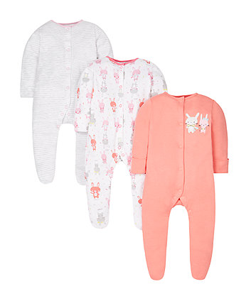 Little Bunny Sleepsuits - 3 Pack