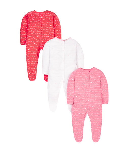 Love Sleepsuits - 3 Pack