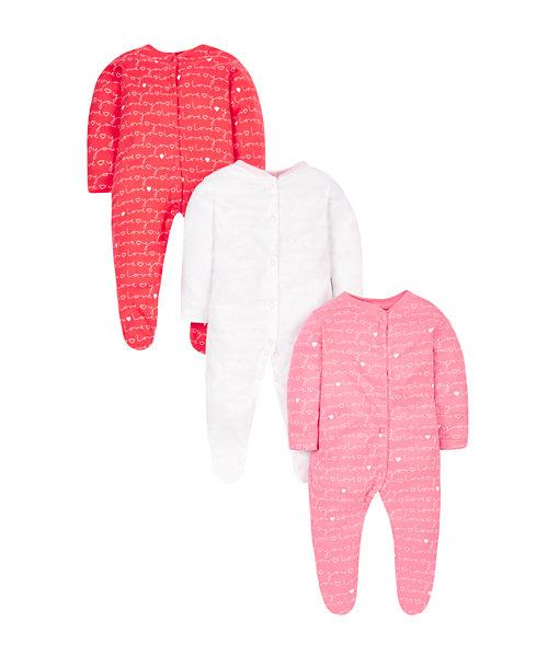 Love Sleepsuits - 3 Pack