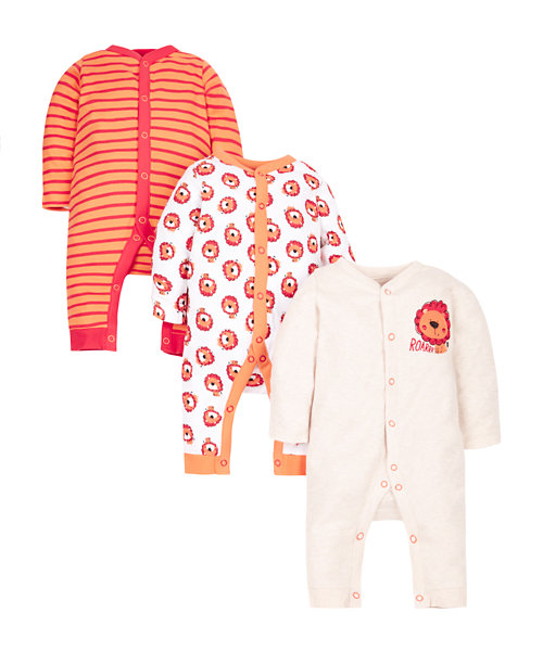 Little Lion Sleepsuits - 3 Pack