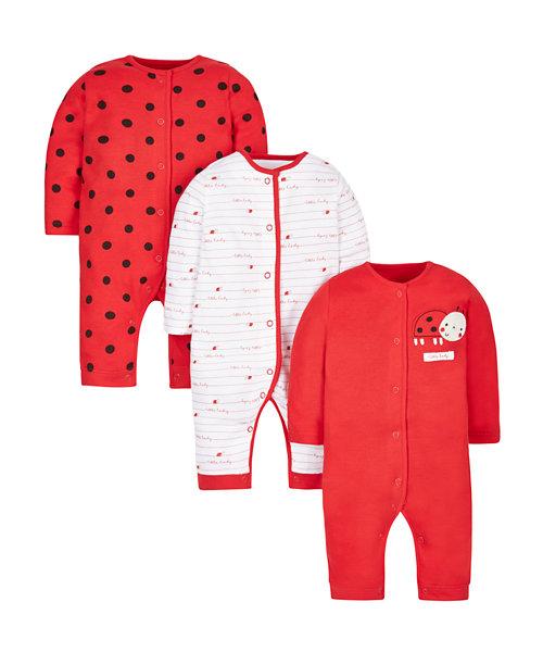 Little Ladybird Footless Sleepsuits - 3 Pack