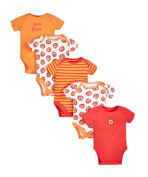 Little Lion Bodysuits - 5 Pack