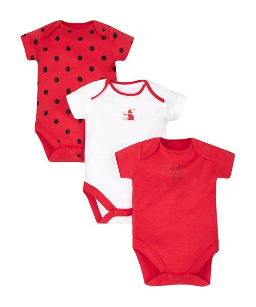 Ladybird Bodysuits - 3 Pack
