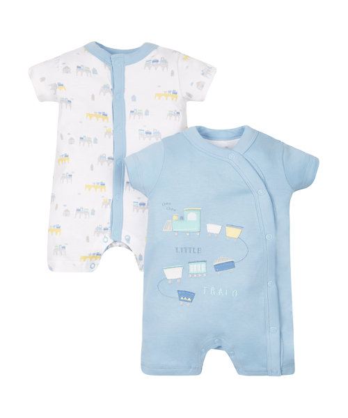 Train Rompers - 2 Pack