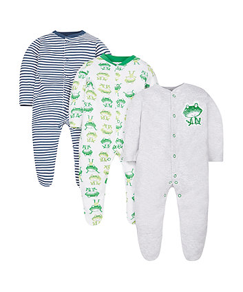 Frog Sleepsuits - 3 Pack