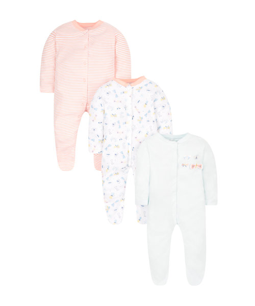 Butterfly Sleepsuits - 3 Pack
