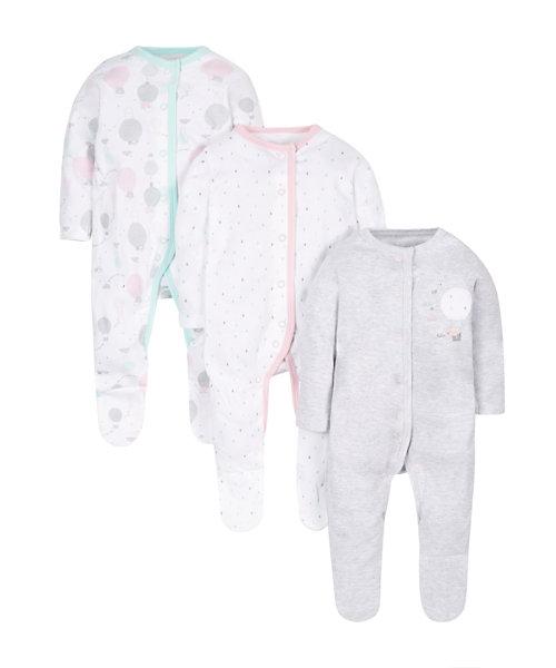 Balloon Sleepsuits - 3 Pack