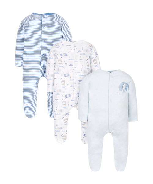 Elephant Sleepsuit Layette - 3 Pack