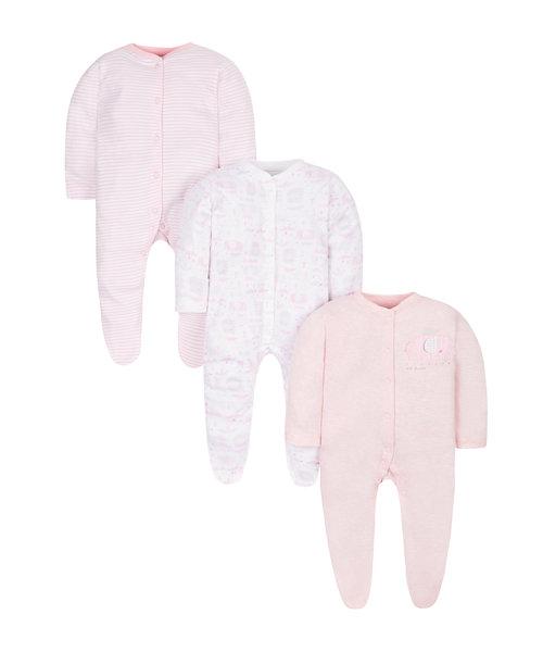Elephant Sleepsuits - 3 Pack
