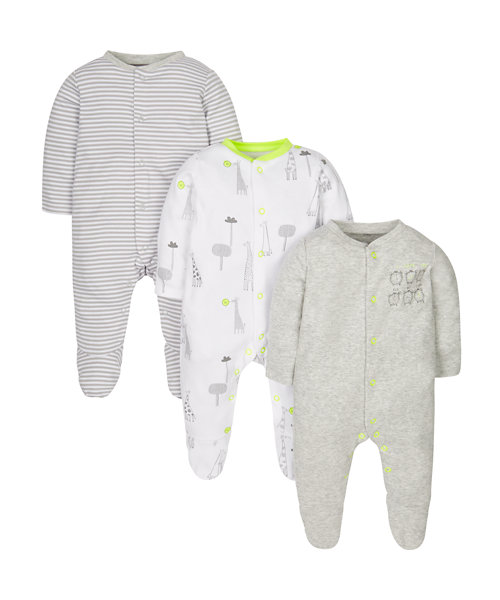 Stripy and Clock Sleepsuits - 3 Pack
