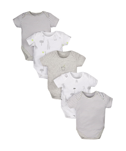 Stripy Giraffe Bodysuits - 5 Pack