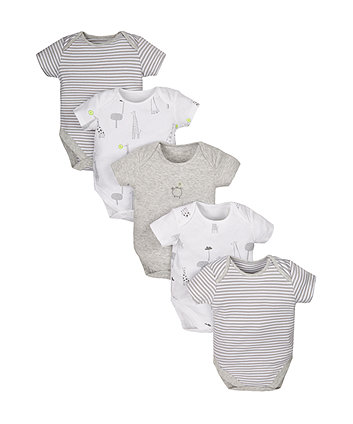 Stripy Giraffe Bodysuits - 3 Pack
