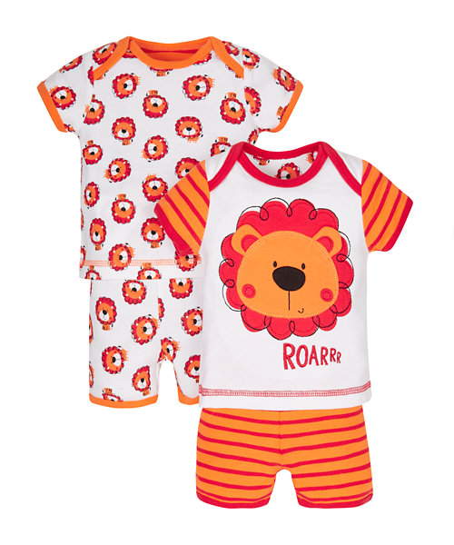 Little Lion Shortie Pyjamas - 2 Pack