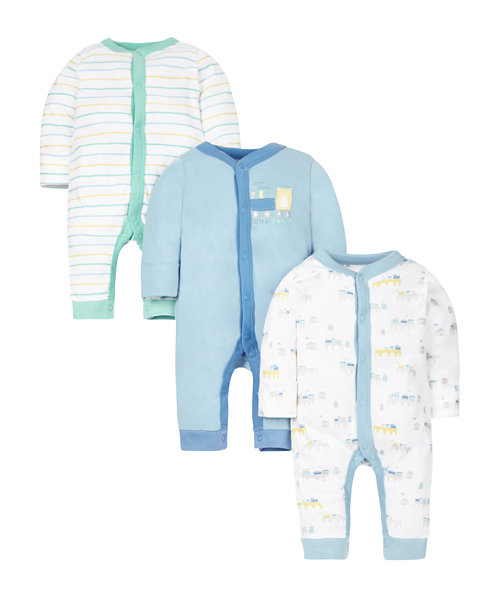 Train Sleepsuits - 3 Pack
