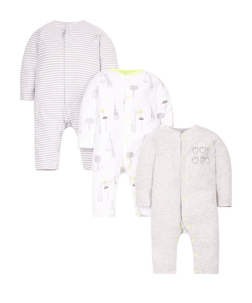 Stripy, Clock and Giraffe Sleepsuits - 3 Pack