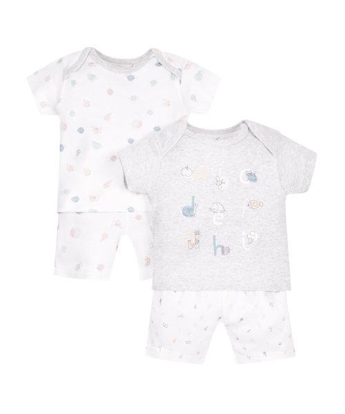 Alphabet Shortie Pyjamas - 2 Pack