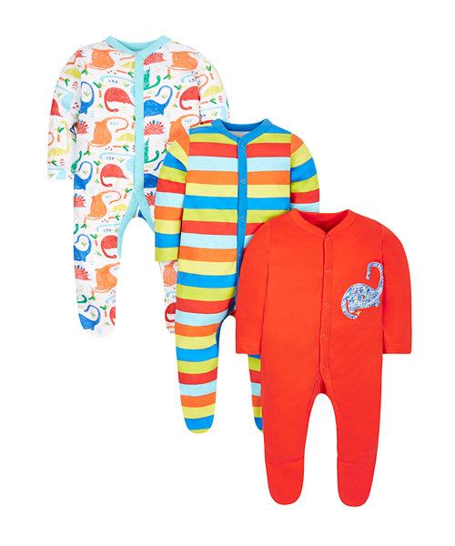 Dinosaur Sleepsuits - 3 Pack