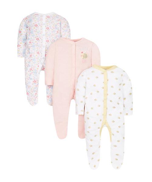 Bee Sleepsuits - 3 Pack