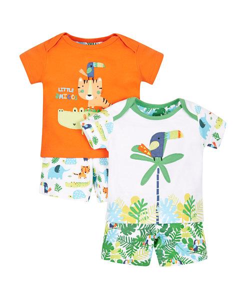 Jungle Shortie Pyjamas - 2 Pack