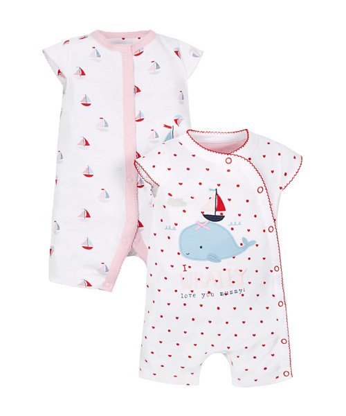 Whale Rompers - 2 Pack
