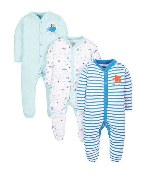 Whale Sleepsuits - 3 Pack