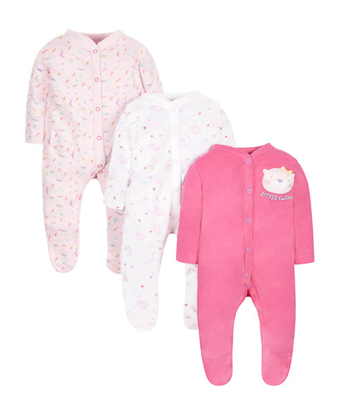 Cat Sleepsuits - 3 Pack