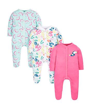 Floral Bird Sleepsuits - 3 Pack