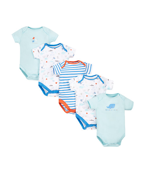 Whale Bodysuits - 5 Pack
