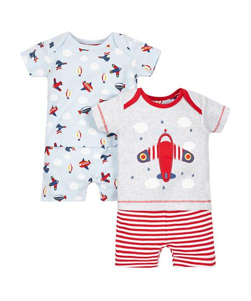 Plane Shortie Pyjamas - 2 Pack