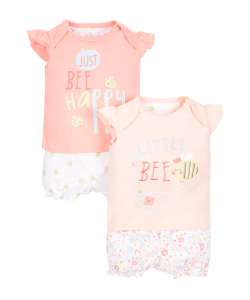Bee Shortie Pyjamas - 2 Pack