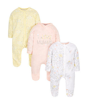Floral Mummy Sleepsuits - 3 Pack