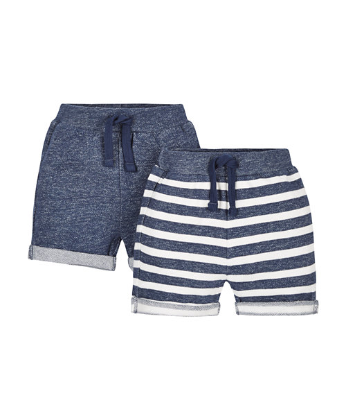 Stripy and Blue Shorts - 2 Pack