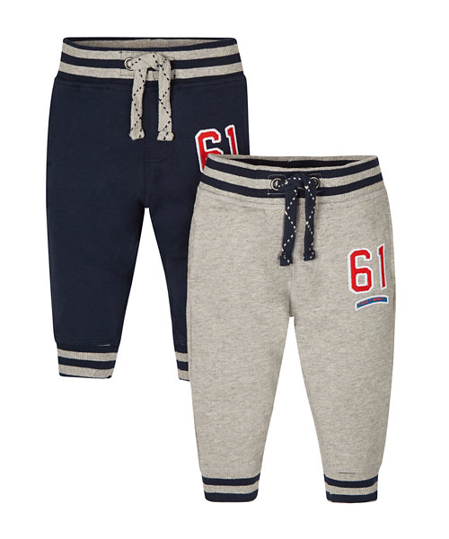 Navy and Grey Marl joggers - 2 Pack