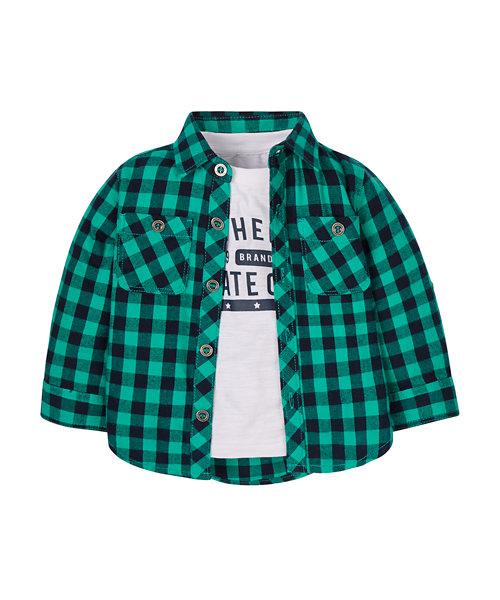 T-Shirt and Gingham Shirt Set