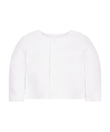 White Purl Knit Cardigan