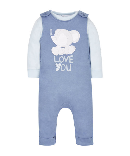 Bodysuit and Dungaree Set
